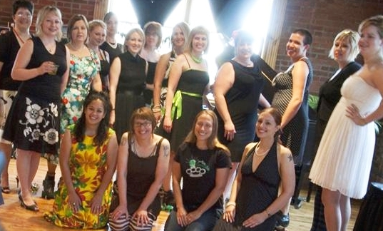 """Circle City Socialites at the Mavris Building, June 2009, for the launch of """"The Roller Derby Guide to the Good Life"""" cookbook"""