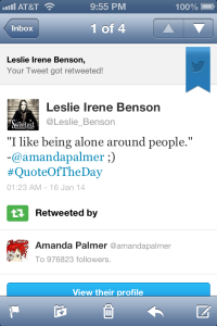 Retweet by Amanda Palmer 1-15-14