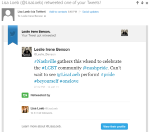 Retweet by Lisa Loeb 6-13-14