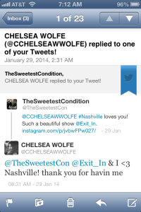 Tweet by Chelsea Wolfe 1-29-14