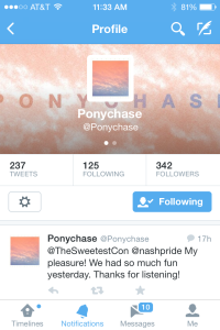 Tweet by Ponychase 6-16-14